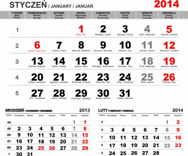 Kalendarium na 2014 trzymiesięczne